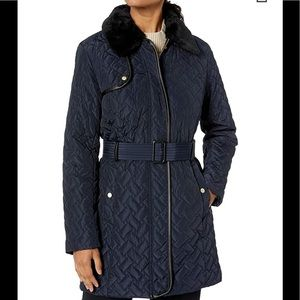 Cole Haan Women's Faux Fur Trim Quilted Jacket